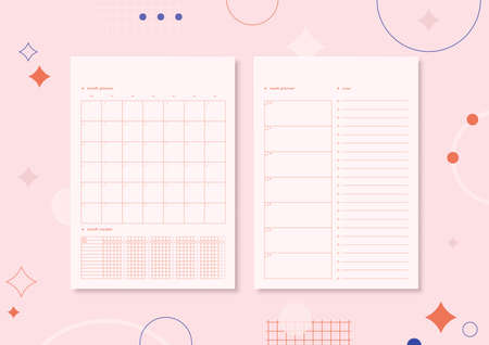 Two sheets of paper A4 with planners for week and moth. Habit tracker and notes. Cute pink minimalistic printable design. Planner on trendy geometric background