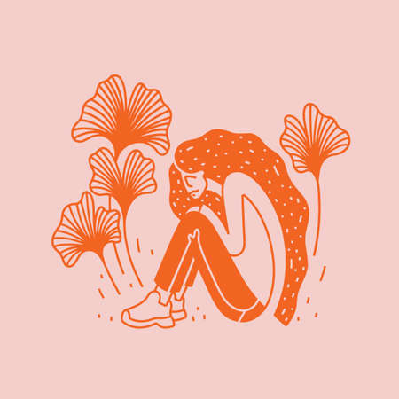 Summer vector illustration with happy girl on nature. Cute sitting girl with long hair.