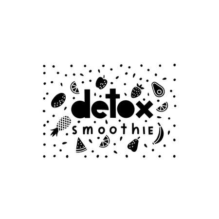 Vector detox smoothie poster in doodle flat style.