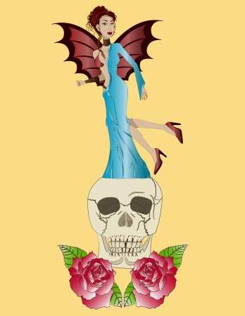 Seductora, cráneo y rosas rojas  Ilustração