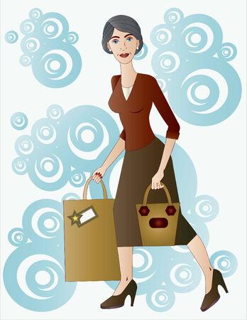belle dame: Belle dame avec des cadeaux