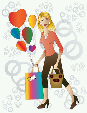 give away: Beautiful blond woman with gift and balloons