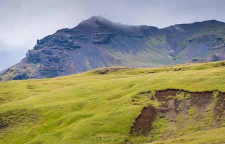 Icelandic hillside near the Skogafoss waterfall