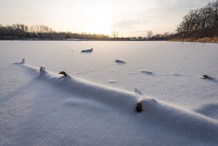 frozen lake: A snow-covered log on a frozen lake