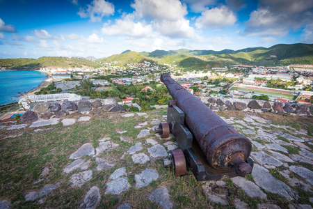 A rusted cannon from historic Fort Louis overlooking St Martin