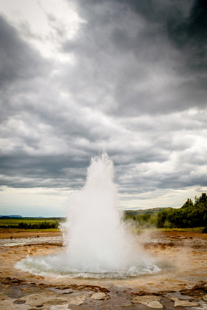 eruption: Sequence showing the eruption of the Stokkur geyser in Iceland Stock Photo