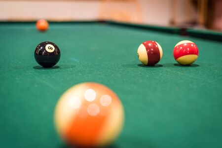 A closup of several billiard balls, with the background balls out of focus 版權商用圖片