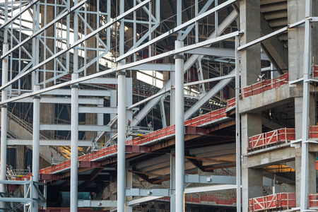 Detailed look at the construction of a large downtown building
