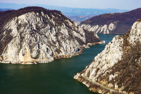 Scenic view of the Danube Gorges upriver of the Iron Gates