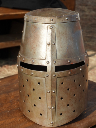 Crusader's Great helm flat topped with small eyes openings used in medieval battles Banco de Imagens - 110836366