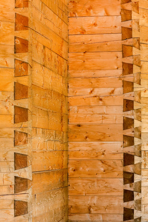 Dovetail -  very strong joint. Detail on a wood wall