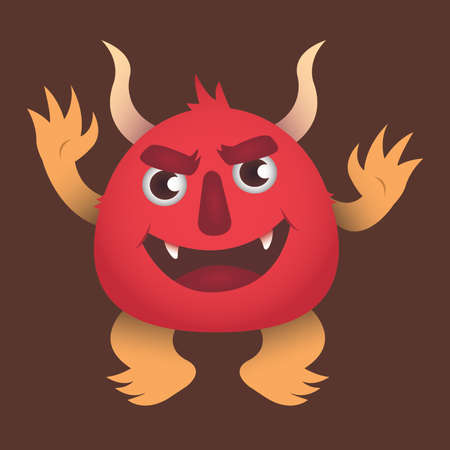 Vector illustration of red furry monster.