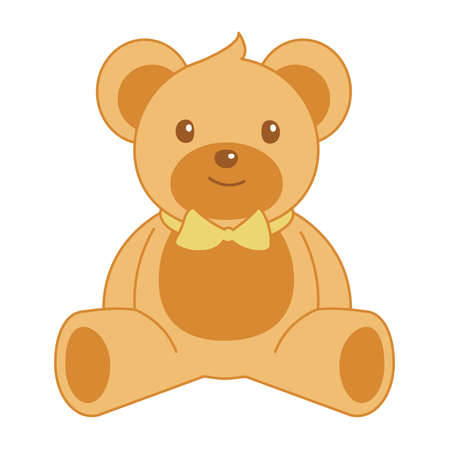 Vector illustration of teddy bear with bow tie.