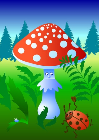 a toadstool: A bug greets a mushroom with lifted hat Illustration