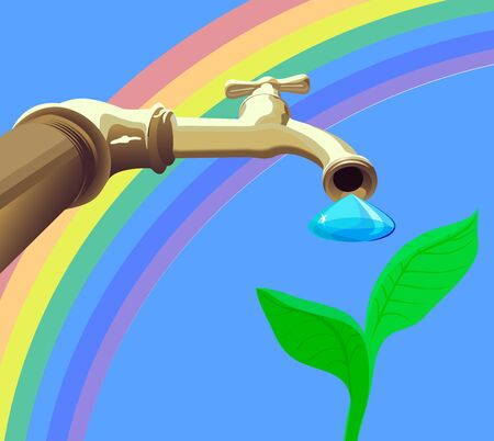Drop from tap drops on plant against the rainbow Vector