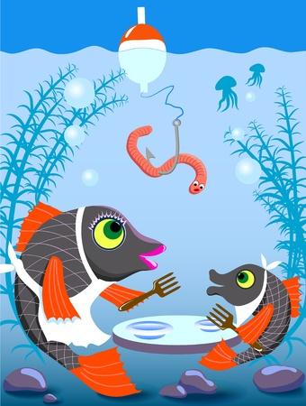 regenworm: twee vissen wachten een worm voor het eten Stock Illustratie