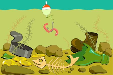 polluted river: Fishing in the river with polluted bottom Illustration