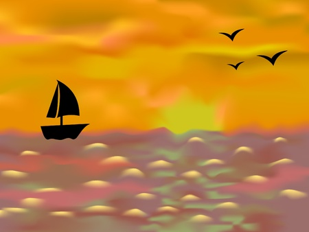 sunset lake: Sailing boat and three seagull against the sunset