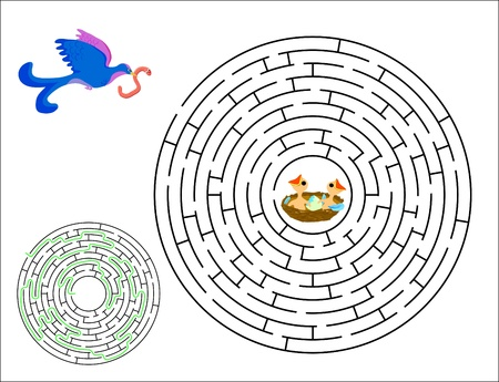 Circle labyrinth. Bird with worm finds a nest with hungry chicken