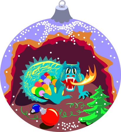 Shape of xmas ball with cave of dragon which guards xmas balls  Vector