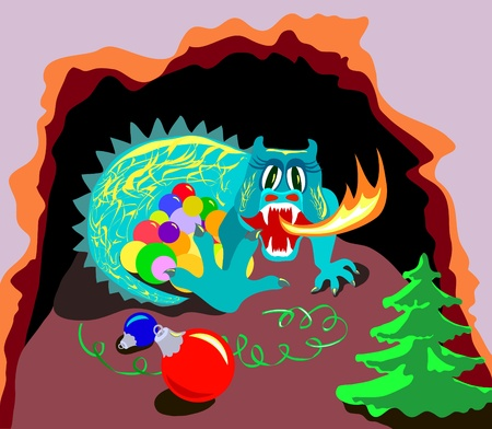 Dragon with fire guards xmas balls in cave Vector