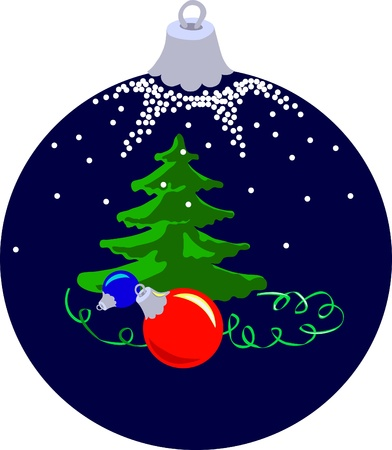 Dark blue Xmas ball with firtree and balls Vector