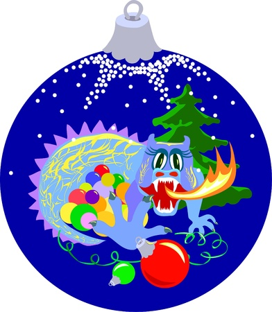 Blue Xmas ball with dragon end firtree Vector