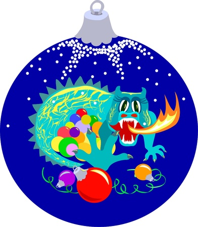 Shape of xmas ball with dragon which guards xmas balls  Vector