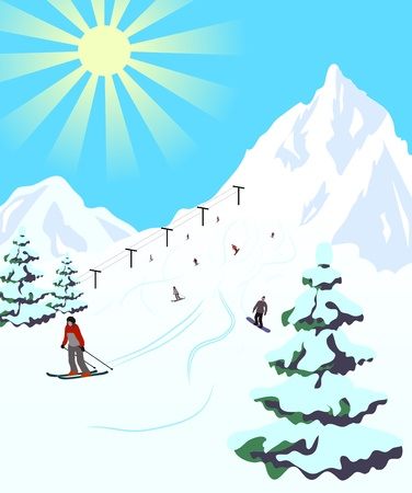 Illustration of winter sport resort. Landscape with snow mountains and skiers. Vector