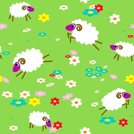 Seamless with sheep in the meadow with flowers Vector