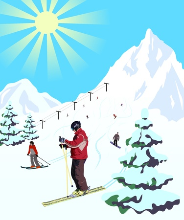 downhill skiing: Winter travel landscape with skier Illustration