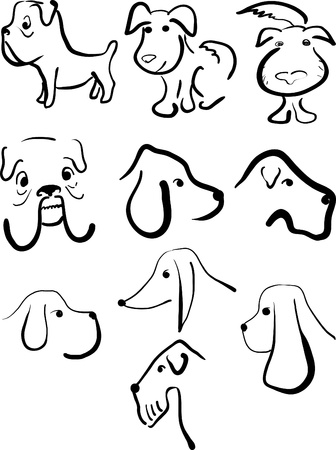 Set of sketches of dog different breeds Vector
