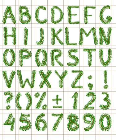 Fir tree green font include numbers and punctuation mark Illustration