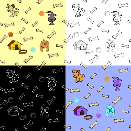 Seamless background with dogs, kennel, balls and bones Vector