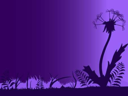 Silhouette of meadow with dandelion against the night sky Stock Vector - 12066657