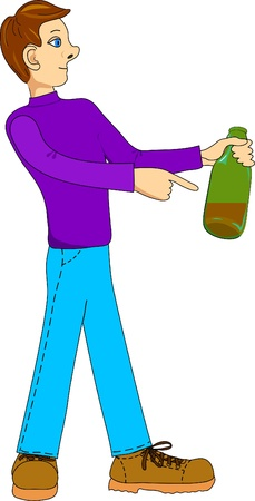 Young man points to bottle with wine
