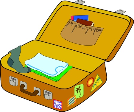 Big open suitcase is ready for packing Vector