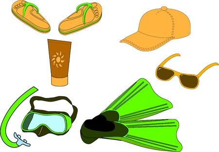 schwimmflossen: Sommer-Strand-Set: Maske und Schnorchel, Flossen, Baseballkappe, UVF Schutz Lotion, Flip-Flops und Sonnenbrille.