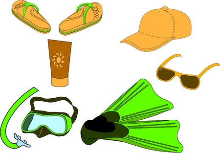 Summer beach set: mask and snorkel, flippers, baseball cap, uvf protection lotion, flip-flops and sun glasses.