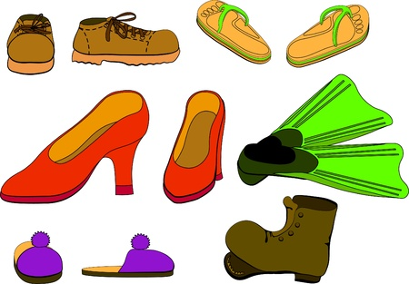 flippers: Set of different pair of shoes. Vector illustration