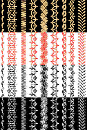 Four sets of seamless ornamental ribbons for edges and frames Vector
