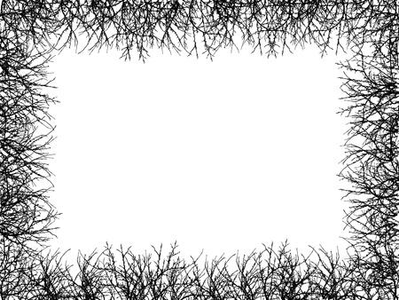 black border of naked branches on white background stock vector 12895813