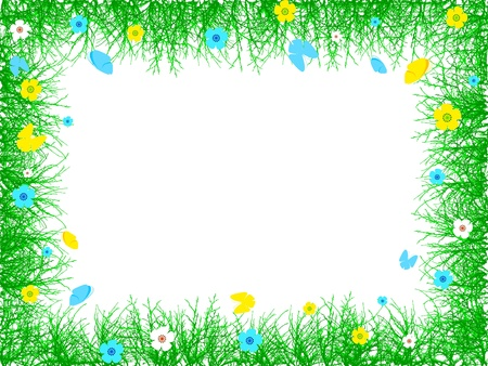 Spring border of twigs, flowers and butterflies on white background