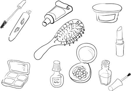make up brush: Juego de siluetas en blanco y negro de la cosm�tica mujer diferente Vectores