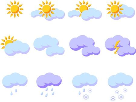 Set of weather forecast illustrations,  isolated on white background Stock Vector - 13040587