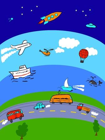 Verschillende vervoer voor land-, zee-, lucht en ruimte Vector Illustratie