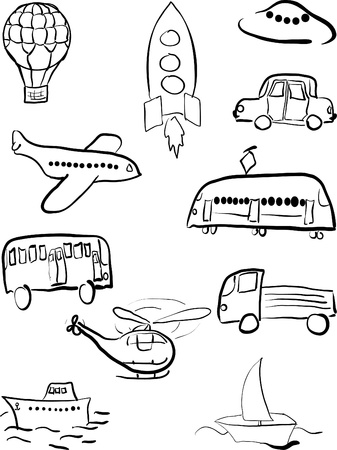 Set of transport for land, sea, air and space Stock Vector - 13213310