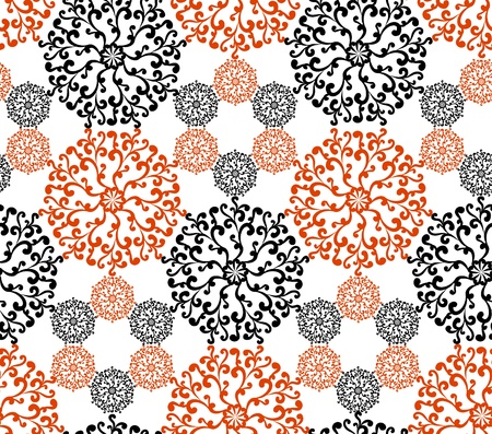 Abstract black and red hexagonal seamless pattern