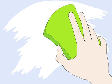 Hand with green sponge cleans dirty glass Vector