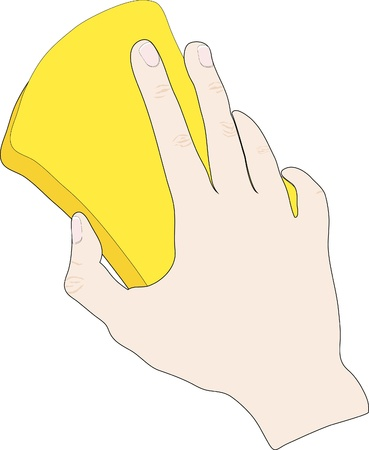 Hand with yellow sponge is ready for cleaning